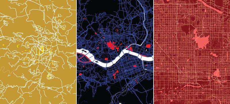Illustration for article titled 14 Maps That Reveal The Hidden Beauty of Big Cities