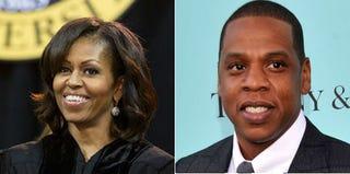 Michelle Obama (Lawrence Jackson/Bowie State University); Jay-Z (Stephen Lovekin/Getty Images)