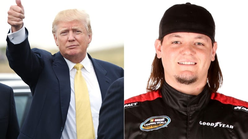 Illustration for article titled Genius NASCAR Driver Plasters His Truck With Ads For Donald Trump