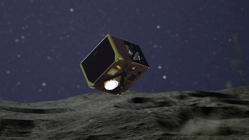 Artist's impression of MASCOT descending towards the surface of Ryugu.