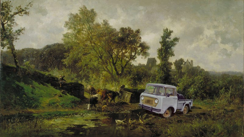 Illustration for article titled Let's Add Cars To Old Landscape Paintings