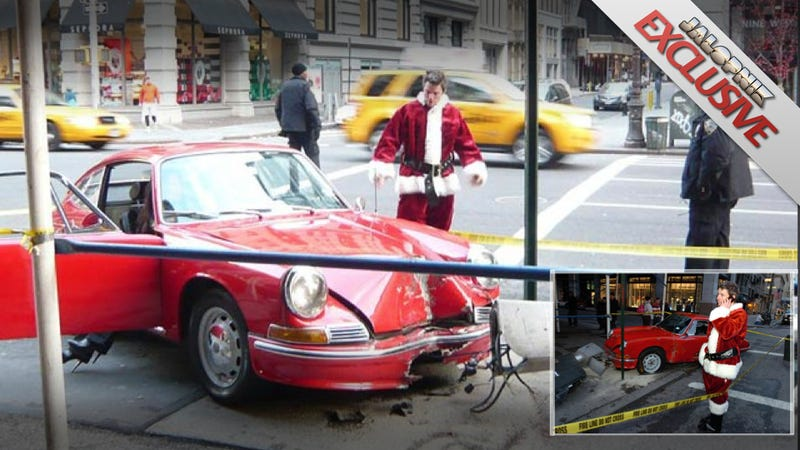 Illustration for article titled I'm the Santa who crashed my vintage Porsche on Christmas in New York City