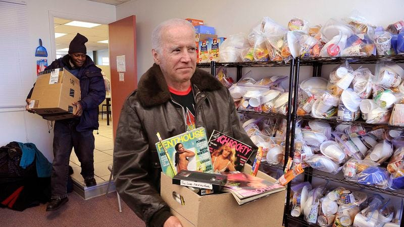 Illustration for article titled Biden Donates Collection Of Classic Skin Mags To Those In Need During Holidays