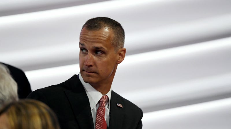 Corey Lewandowski arrives to the floor of Quicken Loans Arena during the opening day of the Republican National Convention in Cleveland. Photo via AP.