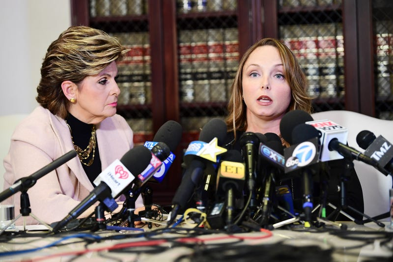 Attorney Gloria Allred and her client Louisette Geiss speak during a press conference  today in Los Angeles. (Photo: Emma McIntyre/Getty Images)