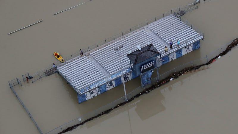 High school football bleachers near Lake Houston. Photo via Getty Images.