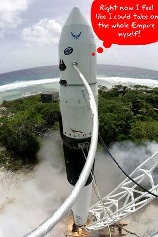 Illustration for article titled Update: SpaceX Falcon 1 Rocket Blew Up, Fourth Time's the Charm?