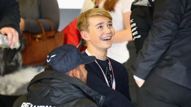 Billy Monger in the Mercedes Formula One garage. Photo credit: Clive Mason/Getty Images