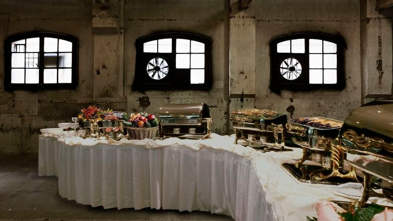 The 12-day, 11-night Dockside Getaway vacation consists of a buffet in a derelict warehouse situated on a Fort Lauderdale municipal pier.