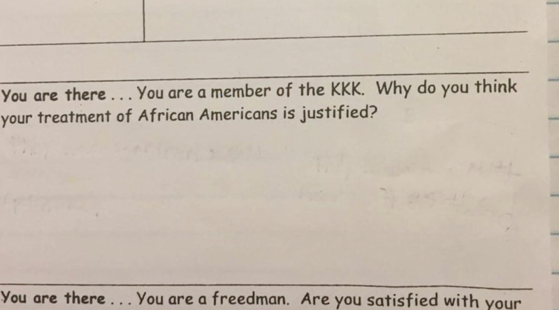 Teacher Asks Fifth Graders to Imagine and Justify Being KKK Members