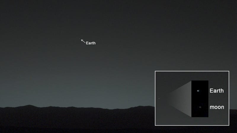 Illustration for article titled Curiosity captures its first photo of Earth from the surface of Mars
