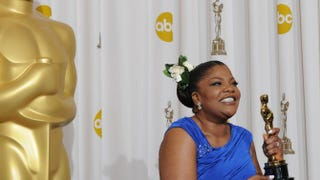 Mo'nique celebrates her Oscar for a Best Performance by an Actress in a Supporting Role for Precious: Based on the Novel 'Push' by Sapphire during the 82nd Academy Awards at the Kodak Theater in Hollywood, Calif., March 07, 2010. MARK RALSTON/AFP/Getty Images