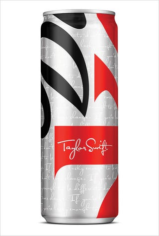 Illustration for article titled Taylor Swift's Diet Coke Can Is Skinnier Than a Regular Diet Coke Can