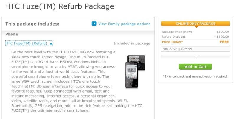 Illustration for article titled AT&T Giving Away a Refurbished HTC Fuze With Contract