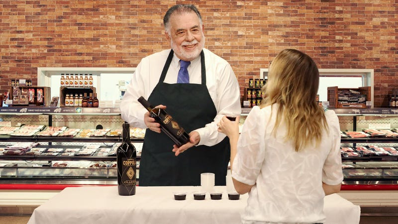 Illustration for article titled Francis Ford Coppola Spends Afternoon Hawking Samples Of Coppola Winery Cabernet To Indifferent Grocery Store Shoppers