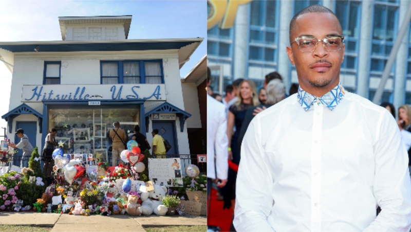 (L-R): People gather near a memorial for Michael Jackson on the front lawn of Hitsville U.S.A., the Motown Museum in Detroit, on Saturday, June 27, 2009. ; Tip 'T.I.' Harris attends the premiere of Disney And Marvel's 'Ant-Man And The Wasp' on June 25, 2018 in Hollywood, California.