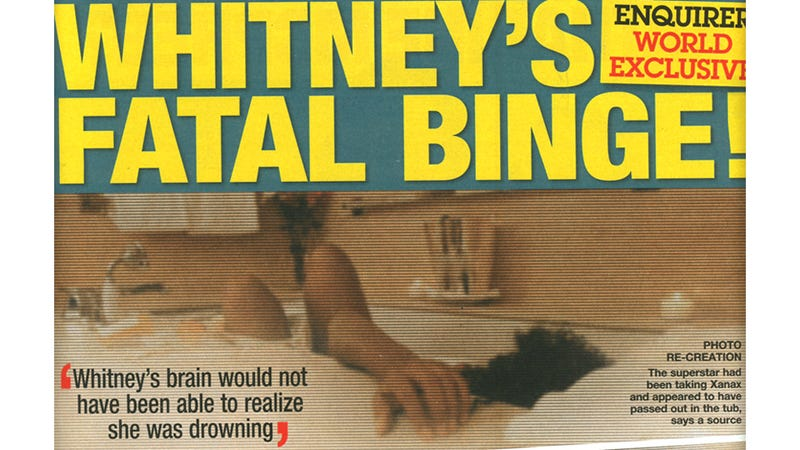 Illustration for article titled Diabolical Tabloid Recreates Whitney's Death With Sick Photoshoot