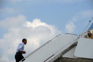 President Barack Obama boards Air Force One (AFP)
