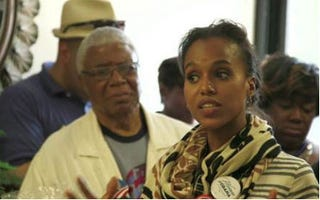 Kerry Washington and her father encourage the community to vote in Second Coming.(BET News)