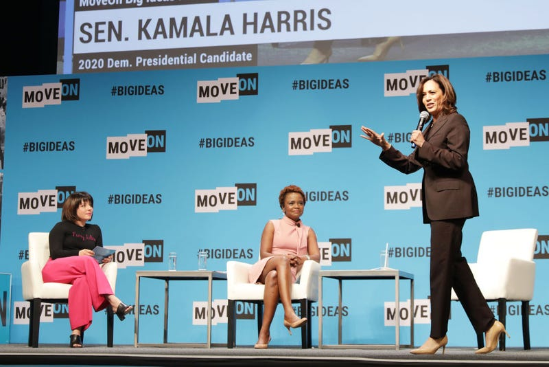 Stephanie Valencia, Karine Jean-Pierre and Kamala Harris speak onstage at the MoveOn Big Ideas Forum at The Warfield Theatre on June 01, 2019 in San Francisco, California.