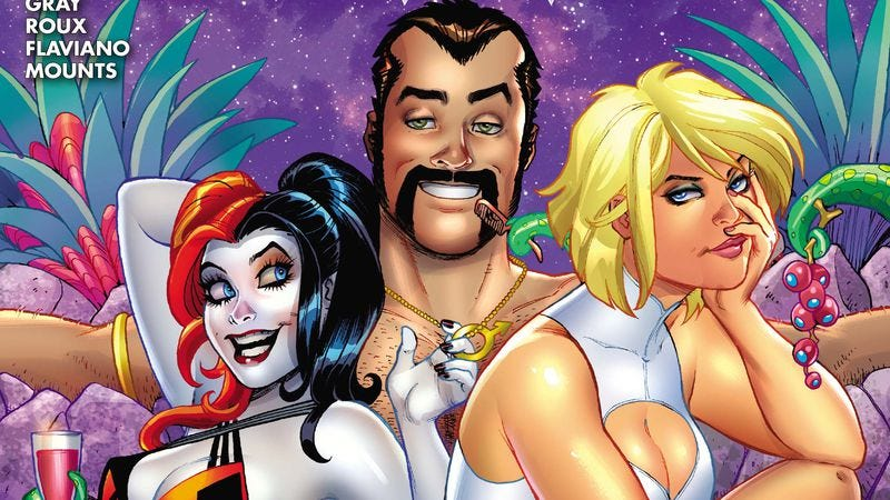 "Illustration for article titled Exclusive DC preview: Harley Quinn & Power Girl face off against a ""Bighead Space-God"""