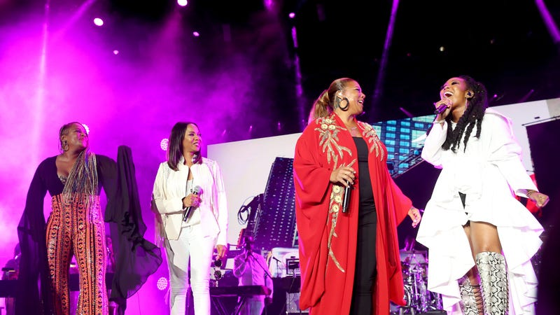 Yo-Yo, left, MC Lyte, Queen Latifah and Brandy perform onstage during the 2018 Essence Festival presented By Coca-Cola - Day 2 at Louisiana Superdome on July 7, 2018 in New Orleans, Louisiana.