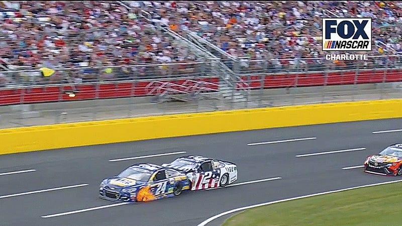 Watch Keselowski's Car Go Under Elliott's Car Like A NASCAR Spatula In Fiery Crash