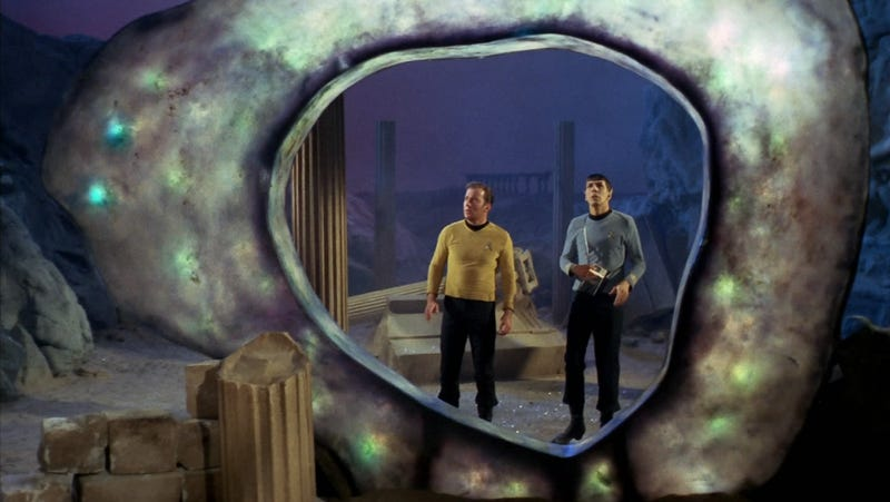 "Captain Kirk and Spock examine the Guardian of Forever portal in ""City on the Edge of Forever."""