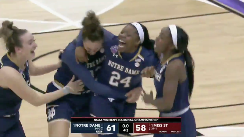 Illustration for article titled Notre Dame's Arike Ogunbowale Crushes Mississippi State With Championship-Winning Three