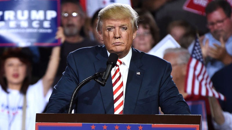 Illustration for article titled Crowd Roars In Approval As Makeup-Smeared Trump Begs Rally To Tell Him He's Beautiful