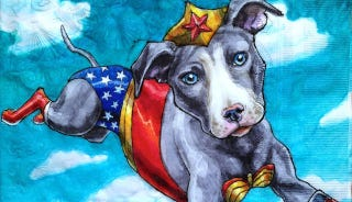Illustration for article titled Artist draws superpowered canines on her sons' lunch napkins
