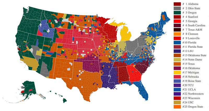 Illustration for article titled Facebook Data Now Give Us The Best Map Of College Football Fandom