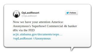 Illustration for article titled Anonymous Leaked Account Data for 4,000 Bank Executives on a Government Website