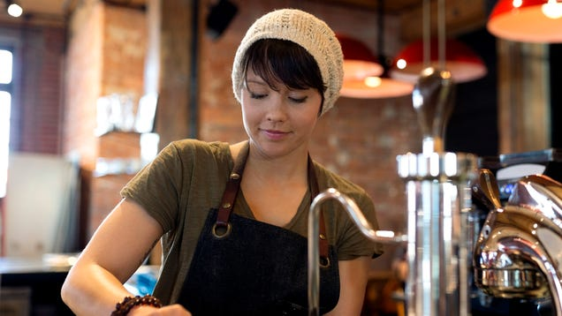Barista The Only Person In Coffee Shop With Job
