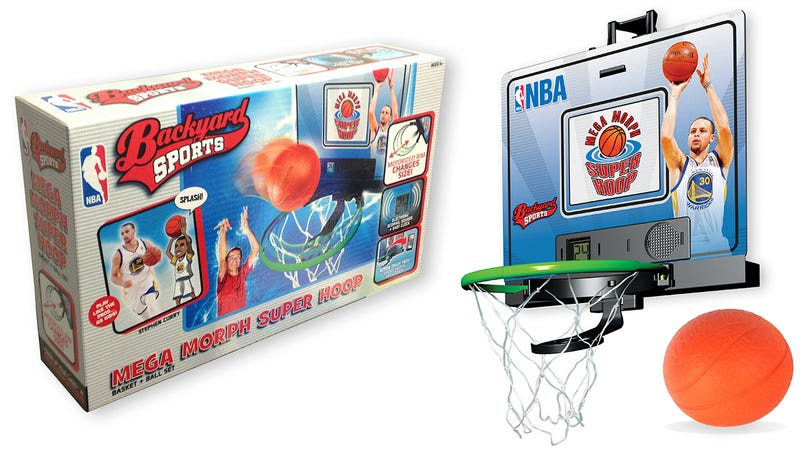 Illustration for article titled The Rim On this Indoor Basketball Hoop Shrinks To Test Your Skills