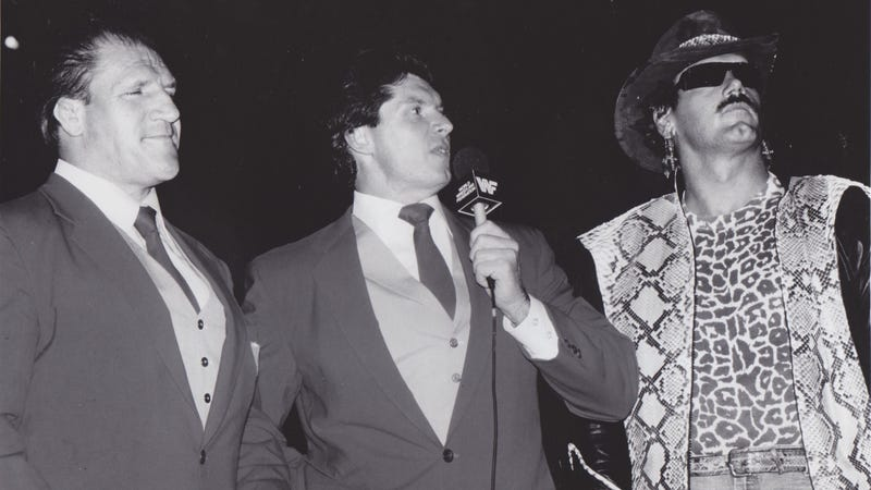 Bruno Sammartino, Vince McMahon, & Jesse Ventura as the Superstars of Wrestling broadcast team in a 1987 promotional photo.