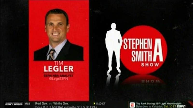 Illustration for article titled ESPN's Tim Legler Loses It After His Phone Stops Working During Stephen A. Smith's Show