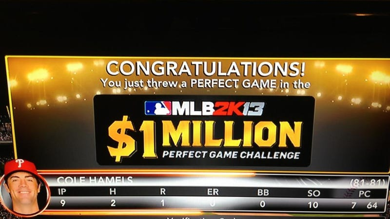 Illustration for article titled Hard-Luck Hurler Tosses a Perfect Game in MLB 2K's Million Dollar Contest