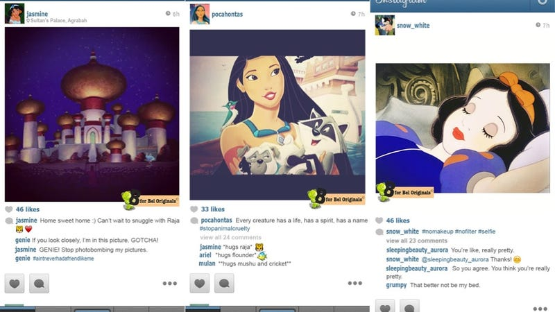Illustration for article titled If Disney Princesses Had Instagram, They'd Be Just Like Us