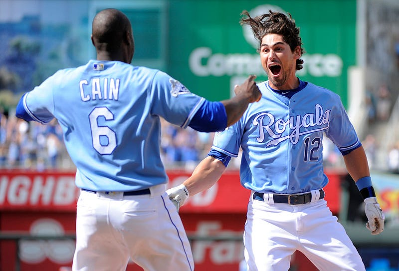 Brett Eibner celebrates the Royals' are-you-fucking-kidding-me comeback with Lorenzo Cain. Via Getty.