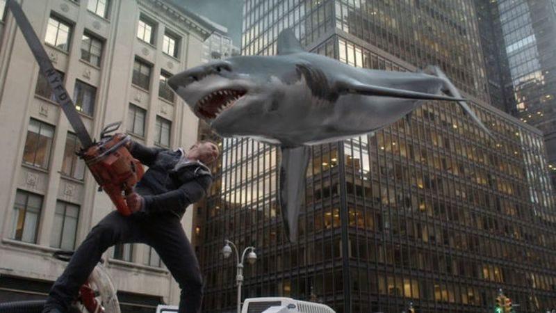 Watch out, Ian Ziering! (Photo: Screencap of Sharknado 2)