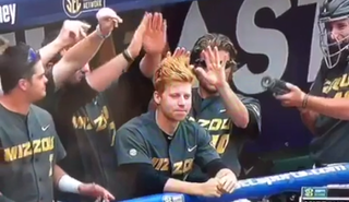 Illustration for article titled Mizzou Baseball Players Use Red-Headed Teammate To Heat Up A Rally