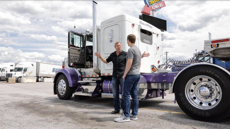 Illustration for article titled Mark Zuckerberg Looking at a Trucker But Not While Sitting in the Truck
