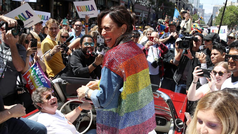 Democratic presidential candidate U.S. Sen. Kamala Harris (D-Calif.) rides in a car during the SF Pride Parade on June 30, 2019 in San Francisco.