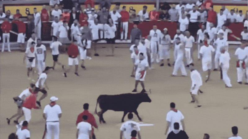 Here's Josh Norman Leaping Over A Bull In Pamplona