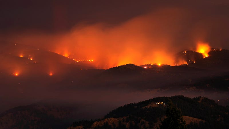 Wildfire burning in the Boulder foothills in 2010. It was the most destructive fire in Colorado state history at the time.