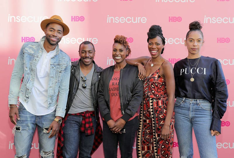 Insecure's cast and crew members Jay Ellis, Prentice Penny, Issa Rae, Yvonne Orji and Melina Matsoukas (Neilson Barnard/Getty Images)