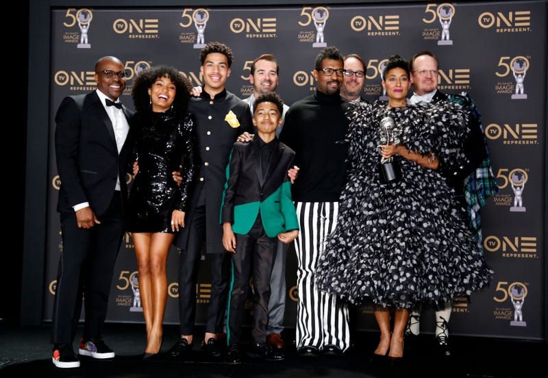 Brian Dobbins, Yara Shahidi, Marcus Scribner, Jeff Meacham, Miles Brown, Jonathan Groff, Deon Cole, Tracee Ellis Ross, and Peter Mackenzie, winners of the Outstanding Comedy Series for 'Black-ish,' attend the 50th NAACP Image Awards at Dolby Theatre on March 30, 2019 in Hollywood, California.