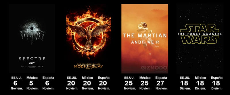 Los principales estrenos de 2015, en una sola imagen (actualizado)