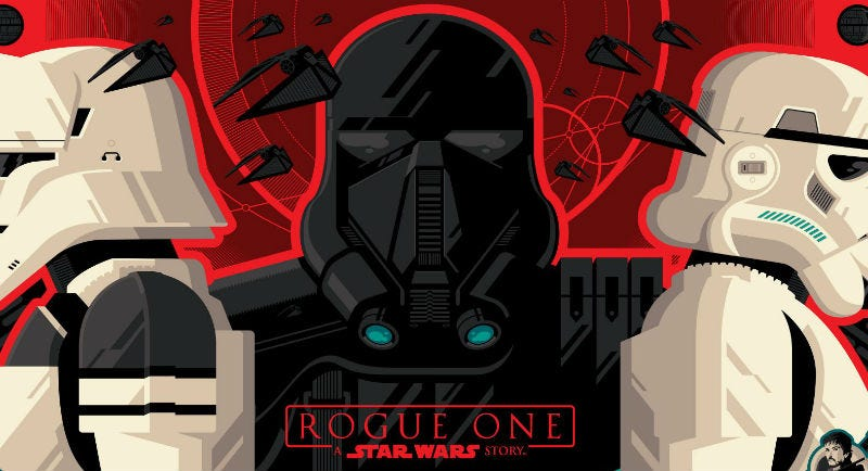 A crop of Tom Whalen's new poster for Rogue One: A Star Wars Story.